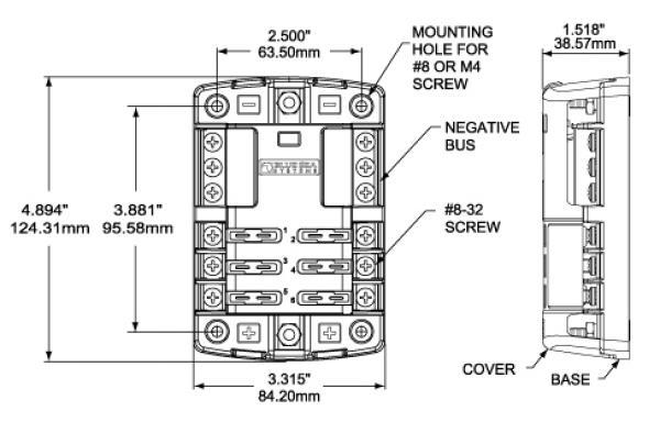 Blade Style Fuse Block ATC, AF, ATO 32VDC Blue Sea, EV
